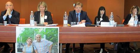 Human Rights Commissioner Nils Muiznieks, Berit Lindeman (Norwegian Helsinki Committee), PACE Member Pieter Omzigt, Dinara Yunus, Alexandra Stiglmayer