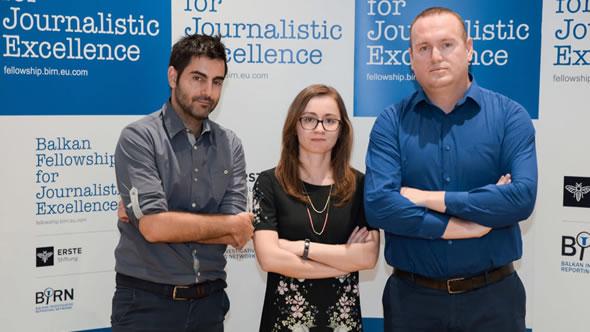 The three winners: Kostas Zafeiropoulos (3rd), Ani Sandu (1st) and Shkumbin Ahmetxhekaj (2nd). Photo: eSeL.at - Joanna Pianka