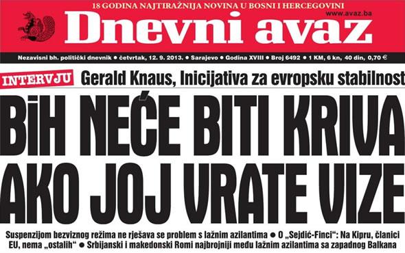 """Dnevni Avaz: """"Neće BiH biti kriva ako joj vrate vize"""""""