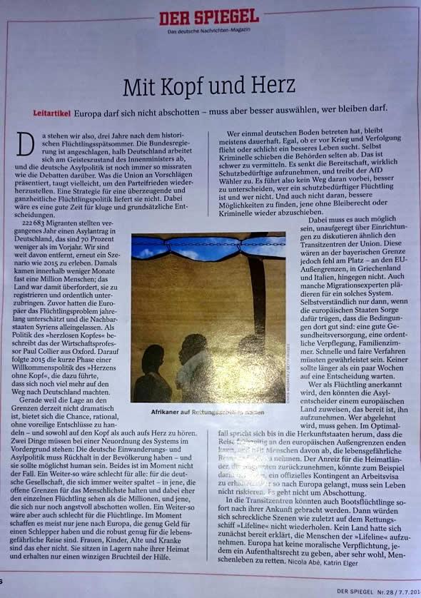 Der Spiegel: Mit Kopf und Herz (