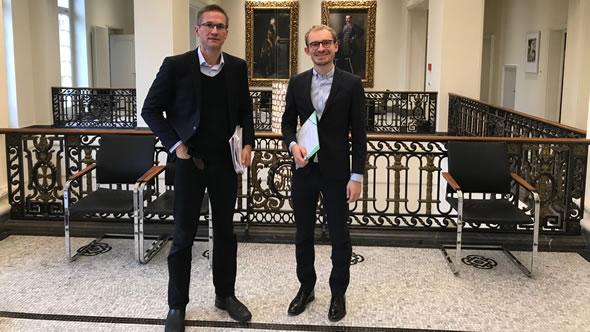 Gerald Knaus and Friedrich Püttmann at the state chancellery of Baden-Württemberg. Photo: ESI
