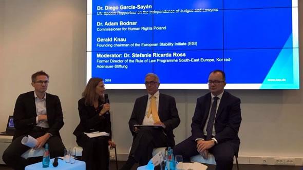 Gerald Knaus, Stefanie Ricarda Roos, Diego Garcia-Sayan, and Adam Bodnar. Photo: ESI