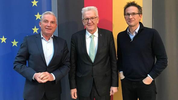 Thomas Strobl, Minister of the Interior – Winfried Kretschmann,  Minister President – Gerald Knaus. Photo: ESI