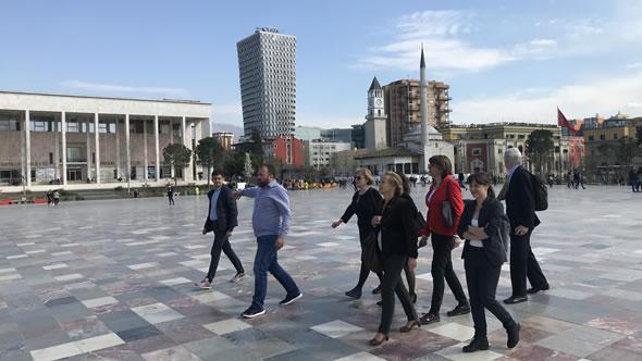 On Tirana's Skanderbeg Square. Photo: ESI