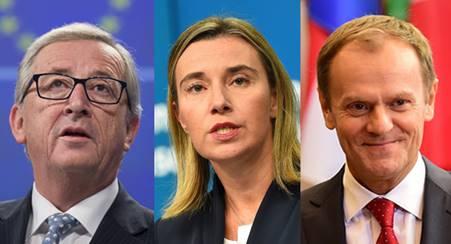 Jean-Claude Juncker - Federica Mogherini - Donald Tusk