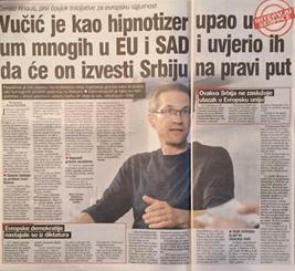 Dnevni avaz: Vučić je kao hipnotizer upao u um mnogih u EU i SAD i uvjerio ih da će izvesti Srbiju na pravi put, ali je vodi u drugom smjeru