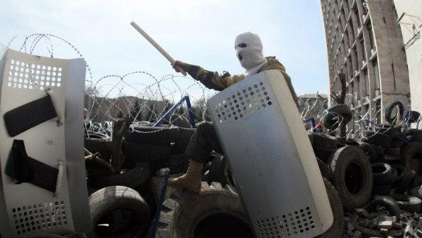 Masked militia man in Donetsk 2014