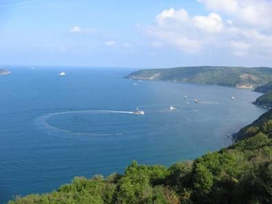 The Bosphorus opening into the Black Sea