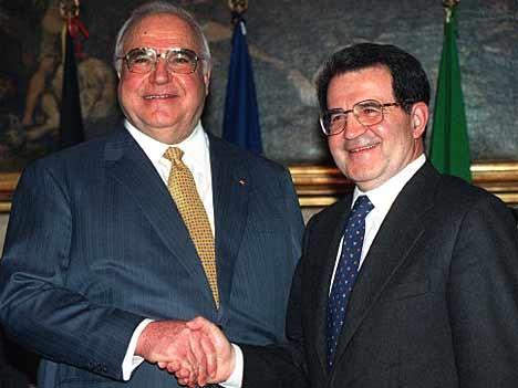 Helmut Kohl and Romano Prodi