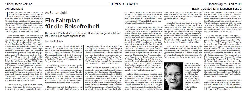 SZ, Gerald Knaus - Ein Fahrplan für die Reisefreiheit - 26 April 2012